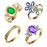 Ring set with precious stones on white Stock Photo