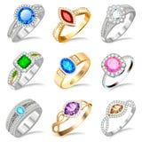 Ring set with precious stones on white. Illustration ring set with precious stones on white Royalty Free Stock Image
