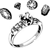 Ring Setting & Gems Royalty Free Stock Images