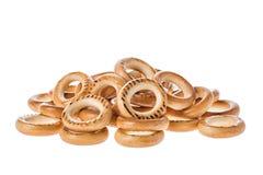 Ring Shaped Bread Rolls Bagels Baranka de Rússia isolou-se no fundo branco fotos de stock royalty free