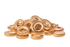 Ring Shaped Bread Rolls Bagels Baranka from Russia Isolated on White Background Royalty Free Stock Photos