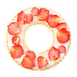 Ring shaped cookie with icing and sugared petals Royalty Free Stock Photography