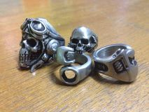 Ring Skull. Good Hands Was Made These Ring From Pewter Stock Image