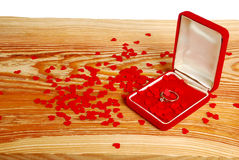 Ring with small red hearts Stock Image