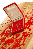 Ring with small red hearts Royalty Free Stock Images