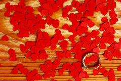 Ring with small red hearts Royalty Free Stock Photo