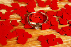 Ring with small red hearts Royalty Free Stock Image