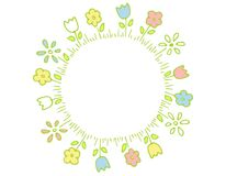 Ring of Spring Flowers in Pastel Colors. A clip art illustration featuring a ring of spring flowers with a white center Royalty Free Stock Images