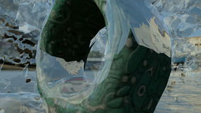 Ring Square-Statuenzentrale das gefrorene Wasserspritzen lizenzfreie abbildung
