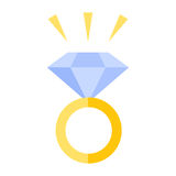 Ring with a stone. Diamond jewel stone vector icon Stock Images