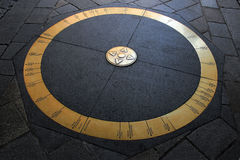 Ring in stone pavement in the middle of Bratislava, Slovakia with world´s destinations Stock Image