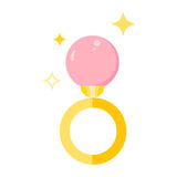 Ring with a stone. Pearl diamond jewel stone vector icon pearl Royalty Free Stock Image
