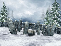 Ring of stones with snow Stock Photos
