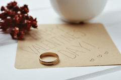 Ring and text happy valentines day Stock Image