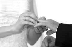 Ring tradition. Bride and groom exchange wedding rings stock photography