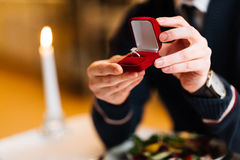 Ring in velvet box Royalty Free Stock Images