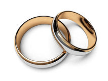 Ring wedding. Wedding gold rings on a white background Royalty Free Stock Photo