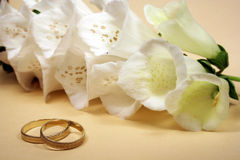 Ring and white flower Royalty Free Stock Photography