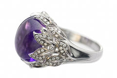 Ring of white gold with amethyst and diamonds Stock Photo