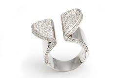 Original white gold ring  with diamonds Royalty Free Stock Photos