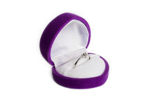 Ring from white gold in a purple small box Stock Image