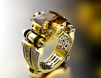 Ring With Diamond. Fashion Jewelry Background Royalty Free Stock Image