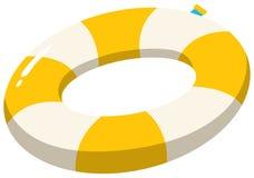 Ring Yellow que nada en el fondo blanco Imagen de archivo