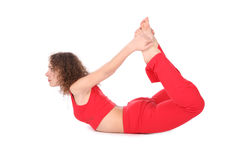 Ring yoga woman. On white royalty free stock images