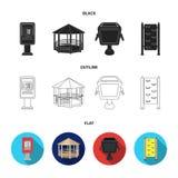 Ringa automatiskt, gazeboen, soptunnan, väggen för barn Parkera fastställda samlingssymboler i svart, lägenheten, översiktsstil stock illustrationer