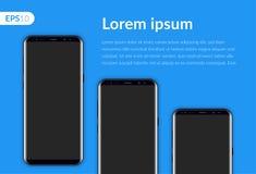 Ringa den mobila smartphonen som isoleras på blå bakgrundsmall Realistiska telefoner för vektorillustrationmodell tre Arkivbild