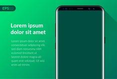 Ringa mobil smartphonedesignsammansättning som isoleras på grön bakgrundsmall Realistisk telefon för vektorillustrationmodell Royaltyfri Foto