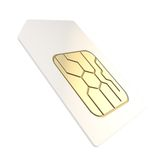 Ringa SIM-kortet med guld- går runt den isolerade microchipen Arkivbild