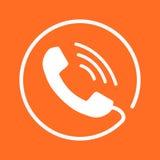 Ringa symbolsvektorn, kontakten, supporttjänsttecken på orange backg Royaltyfri Bild