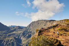 Ringbult Maido, La Reunion Island, Frankrike - Augusti 15, 2017: Touris Arkivfoton