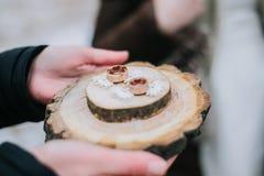 Ringe auf einem Ringhalter Stockfoto