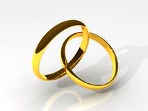 Ringe der goldenen Hochzeits-3D lizenzfreie abbildung