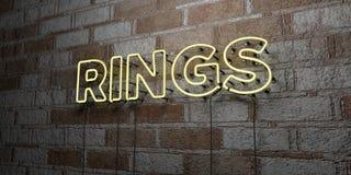 RINGE - Glühende Leuchtreklame auf Steinmetzarbeitwand - 3D übertrug freie Illustration der Abgabe auf Lager Stockfotografie