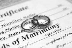 Ringe und Heiratsurkunde Stockbild
