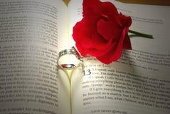 Ringe und Rose auf Bibel Stockfoto