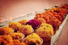 Ringelblume und stieg für Angebotrespekt an Mahabodhi-Tempel Bodh Gaya, Indien Lizenzfreie Stockfotos