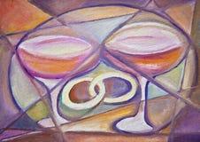 Ringen en rode wijn stock illustratie