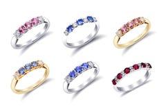 Ringen met Gekleurde Halfedelstenen Royalty-vrije Stock Foto's