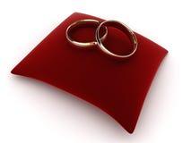 Ringen op een fluweelkussen Stock Fotografie