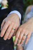 Ringen op handen Royalty-vrije Stock Afbeeldingen