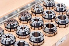 Ringen voor instrumenten voor zware industrie in houten doos Stock Fotografie