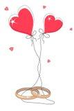 Ringer och hjärtor vektor illustrationer