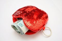 Ringgit Malaysia in a Red Wallet Stock Images