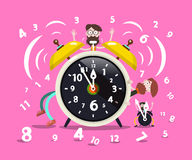 Ringing Alarm Clock Cartoon. With Hipster Men and Numbers on Pink Background Royalty Free Stock Image