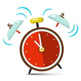 Ringing Alarm Clock Vector Icon. Isolated on White Background Vector Illustration