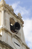 Ringing Bell. In the belfry at one of Lisbon neighborhoods, known as Basilica da Estrela (as in Basilica of the Star), Portugal Stock Photos